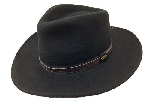 Dorfman Pacific Scala Men's Crushable Wool Outback Hat Black - Medium - Cap Hat Outback
