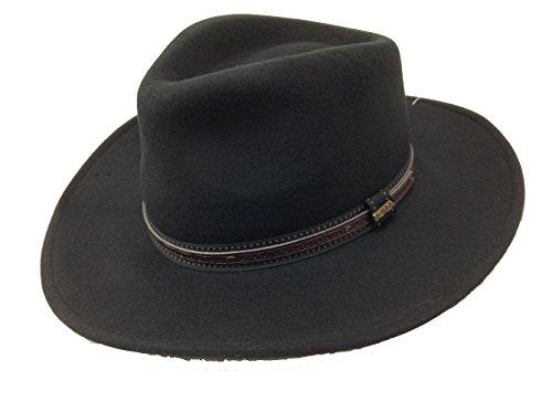 Dorfman Pacific Scala Men's Crushable Wool Outback Hat Black - Medium