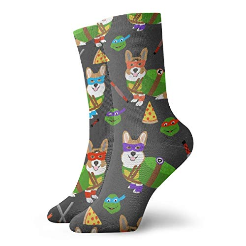 Teenage Mutant Corgis - Cute Dogs In Costumes, Cosplay, Comics, Comic-con, Halloween, Dog, Dogs, Charcoal_318Painting Art Printed Funny Novelty Animal Casual Cotton Crew Socks 11.8inch ()