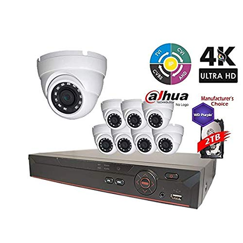 Dahua OEM Penta-brid 4K Pro Security Package: 8CH 4K XVR7108-4K 5 in 1 (CVI TVI AHD IP and Analog) w/4TB Security Hard Drive+(8) 4MP Outdoor HDW1400 2.8MM Eyeball (NO LOGO OEM Local Support) ()
