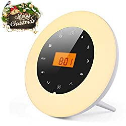 Sunrise Alarm Clock Wake Up Light, Wake Up Light Radio Clock, with 7 Color Adjustable Light, 18 Stations FM Radio, 8 Nature Sound, Aux-in Speaker and USB Charger, White