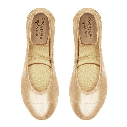 Cocorose Donna Scarpe Brillare Oro Barbican Ballerine Pieghevoli g0gUH