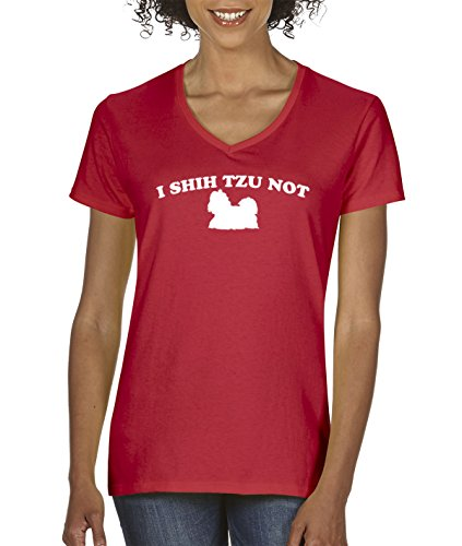 New Way 728 - Women's V-Neck T-Shirt I Shih Tzu Not Dog Puppy Parody Humor XL Red (T-shirt Womens V-neck Puppy)
