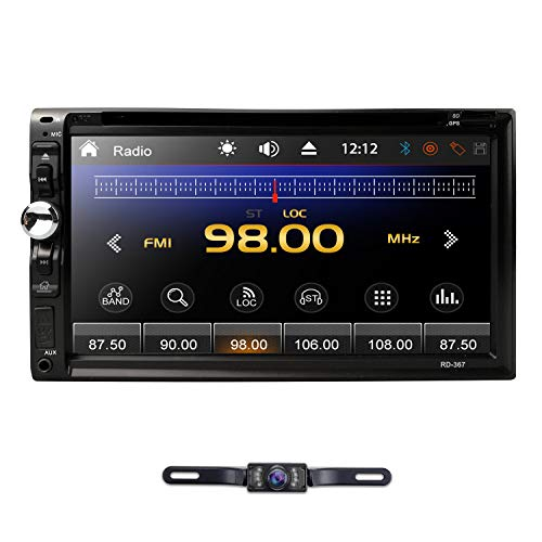 hizpo 7 Inch HD Touch Screen Double 2 DIN Car Stereo Radio DVD Player Bluetooth Mirrorlink Steering Wheel Control MP3 CD Reverse - Car Gps Double Din Alpine Audio