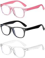 MEETSUN 3 Pack Kids Blue Light Blocking Glasses for Girls & Boys Age 5-12, Anti Eyestrain & UV Protect