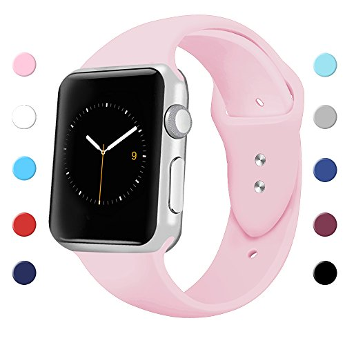 Price comparison product image Sport Band for Apple Watch 42mm 38mm, Soft Silicone Sport Strap Replacement Bands for iWatch Apple Watch Series 3, Series 2, Series 1 38mm Pink Sand Small