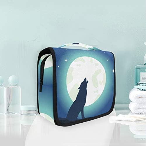 ムーンウルフアートハンギング折りたたみトイレタリー化粧品袋メイク旅行オーガナイザーバッグケース用女性女の子浴室