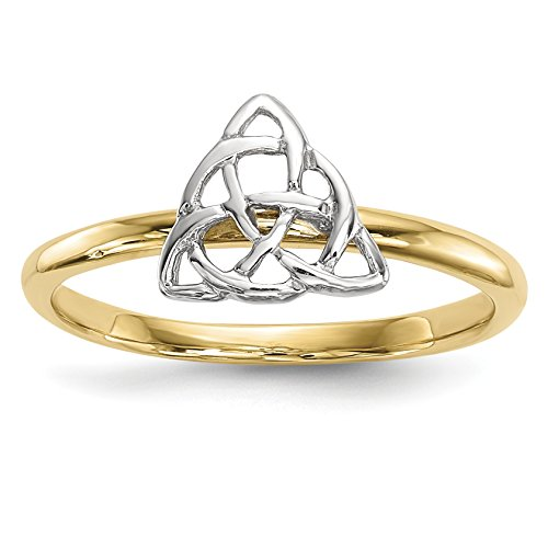 ICE CARATS 14k Two Tone Yellow Gold Trinity Knot Band Ring Size 7.00 Claddagh Celtic Fine Jewelry Gift Set For Women Heart