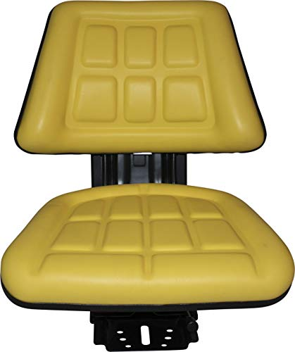 (Yellow TRAC SEATS Brand TRIBACK Style Universal Tractor Suspension SEAT with TILT FITS John Deere 5200 5210 5300 5310 (Fast Shipping - 1-4 Business Days DELIVERY - Same OR Next Day Shipping -View MAP)