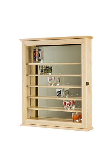 Shot Glass Shooter Display Case Cabinet-Maple Hardwood *Made in the (Craftsman Glass Cabinet)