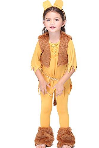 Kids Halloween Animal Cosplay Costume Lion Cartoon King Leo Novelty Clothing, S-XL -