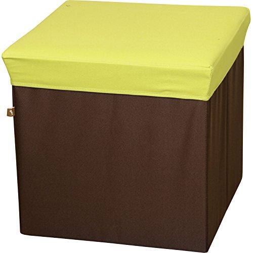 AZUMAYA Storage Folding Box Stool Ottoman Green 16