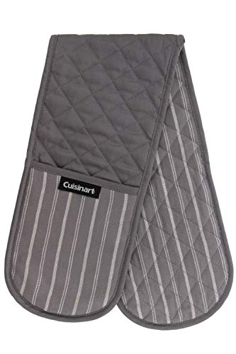 Cuisinart Quilted Heat Resistant Double Oven Mitt/Glove, Twill Stripe, 7.5 x 35, Great for Cooking, Baking, and Handling Hot Pots & Pans- Titanium Grey