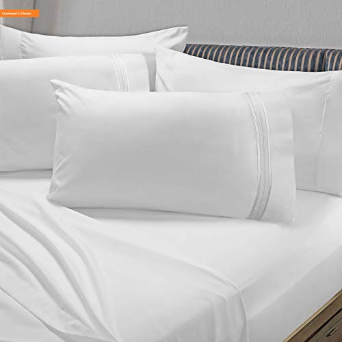 Mikash New Soft Premier 1800 Collection 6pc Bed Sheet Set with Extra Pillowcases - Queen, White | Style 84600355 (Seersucker Sheets Bed)