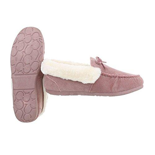 Ital-Design Mokassins Damenschuhe Mokassins Warm Gefütterte Halbschuhe Pink
