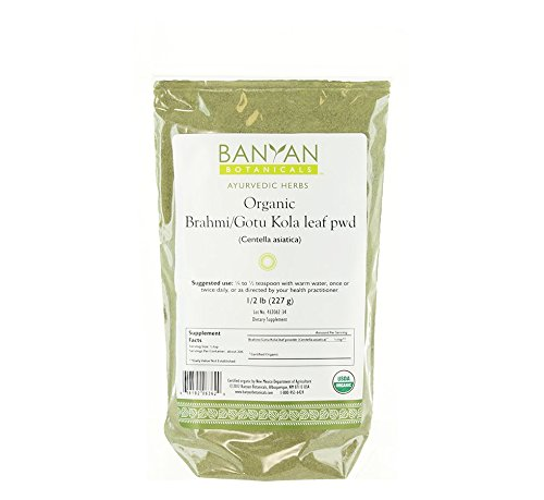 Banyan Botanicals Brahmi/Gotu Kola Powder, 1/2 Pound - USDA Organic - Centella asiatica - Ayurvedic Herb for the Brain & Nervous (Gotu Kola Herb Powder)