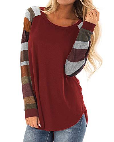 - KUFV Womens Round Neck Color Block Long Sleeve Tunic Sweatshirt Autumn Striped Top Shirts (3XL, Burgundy 2)