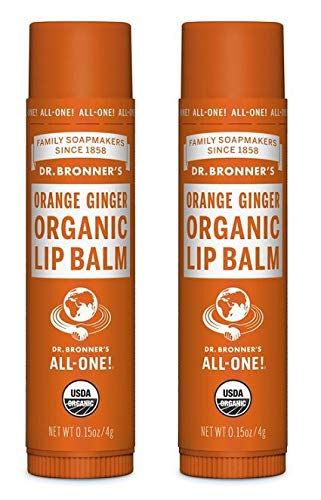 Dr. Bronners Organic Moisture Lip Balm & Magic Massage Balm (Orange Ginger Lip Balm, 2 Pack)
