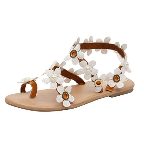 JJLIEKR Bohemian Floral Sweet Clip Toe Flat Sandals for Womens Girl Slip-On Slippers Comfort Maternity Shoes Beach Brown
