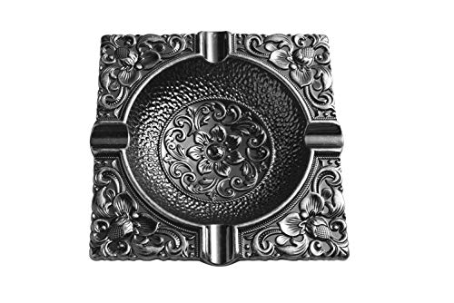 Haloharu - Newness Cool Design Metal Ashtray for Outdoor Indoor Patio Home Deco-4.92in x 4.92in x 0.78in, 0.49lb-Square Vintage Style for Elegant Men Smoking of Cigar and Cigarette