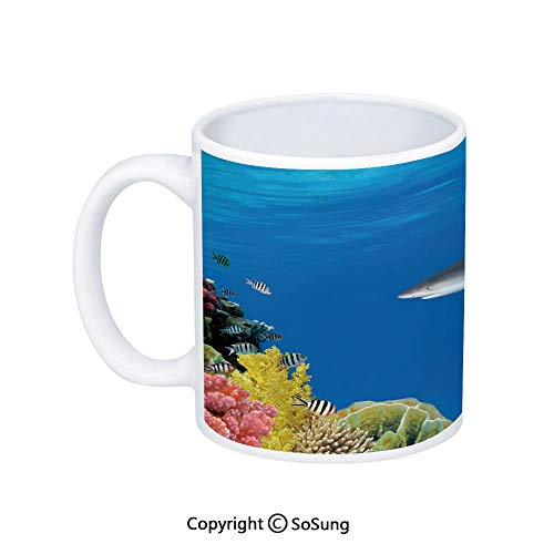 Shark Coffee Mug,Tropical Underwater World with Fishes