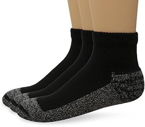 Cushees BLACK Thick Ankle Socks, 3-pack (Men's 166XL) - 1/2 Cushion Ankle Socks