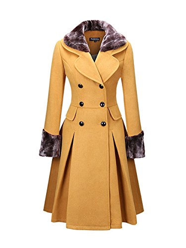 Honwenle Women Classical Double Breasted Faux Fur Collar Swing Woolen Coat (Yellow Winter Coat)