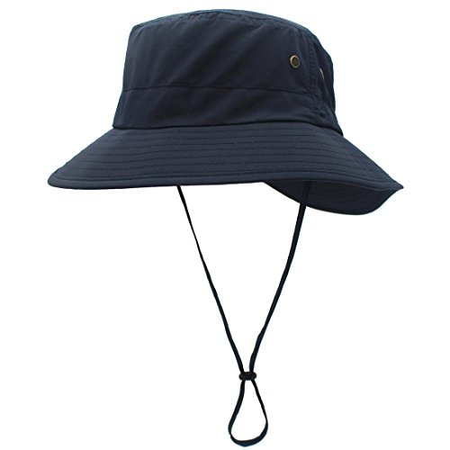LLmoway Women UPF50+ Outdoor Wide Brim Packable Sun Hat Dry Fit Fishing Camping Hats Adjustable Navy