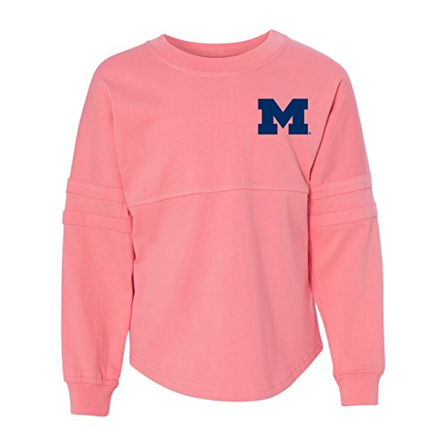 YM40 - Michigan Wolverines Primary Logo Arch Pom Jersey - Medium - Coral - Exclusive Print Jersey