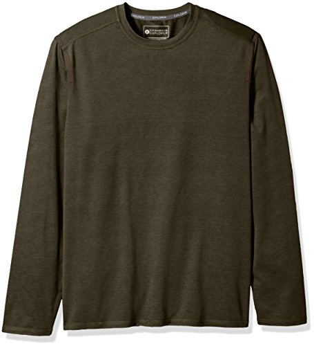 G.H. Bass & Co. Men's Performance Space Dyed Long Sleeve Jersey Crew, Forest Night, X-Large