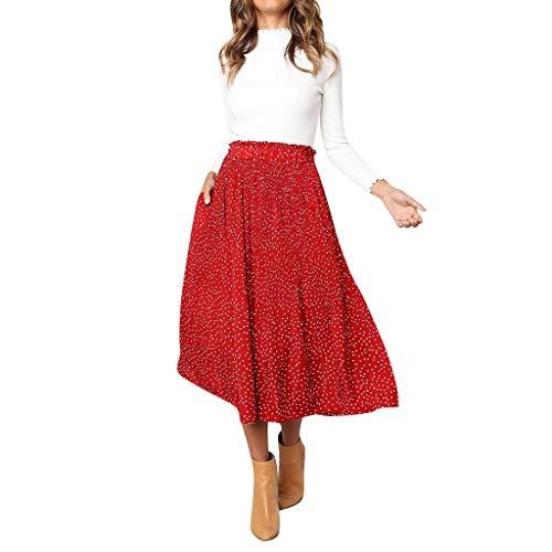 Creazrise Women's Elastic Waist Allover Dots A Line Chiffon Vintage Midi Skirt (Red,XL) -