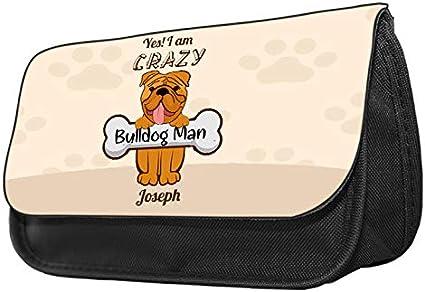 Estuche con diseño de Bulldog con texto en inglés
