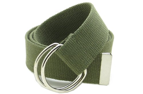 Solid Olive Green (Canvas Web Belt Double D-Ring Buckle 1.5