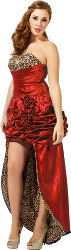 Vintage Pin-Up Style Beaded Satin High-Low Formal Prom Dress Pageant Gown, Large, Red