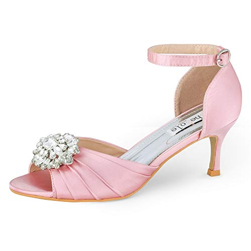 SheSole Womens Dress Shoes Low Heel Sandals Wedding Rhinestone Open Toe Pumps Blush Pink US Size 10