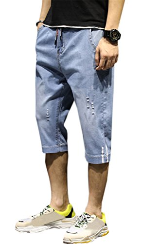 QZH.DUAO Men's Elastic Waist Distressed Ripped Capri Cropped Denim Jean Shorts with Drawstring, Blue, 34