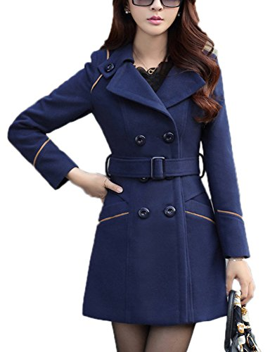YOSUNL Women's Wool Blend Coat Double-Breasted Outerwear Winter Warm Trench Jacket with Belt Navy Blue XL