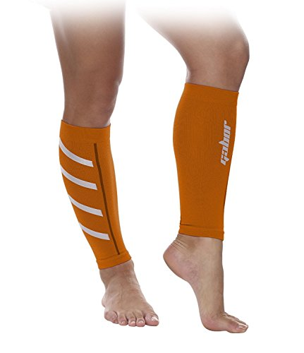 Gabor Fitness Graduated 20-25mm Hg Compression Running Leg Sleeves, Large, Orange