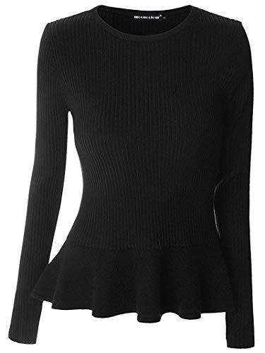 Mooncolour Women's Long Sleeve Knitted Fitted Peplum Tunic Top Black