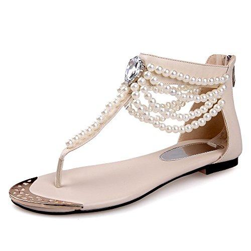 Allhqfashion Dames Split Ronde Neus Rundleder Stevige Sandalen Met Juwelen En Kraal Beige