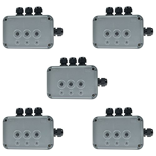 SuperInk 5 Pack 15A 125VAC 3-Gang Power Control Switch Junction Box Weatherproof Outdoor Switched with 3 x Push Switches w/indicators and 4 x 20mm Cable Gland IP66 - Outlet Preminum