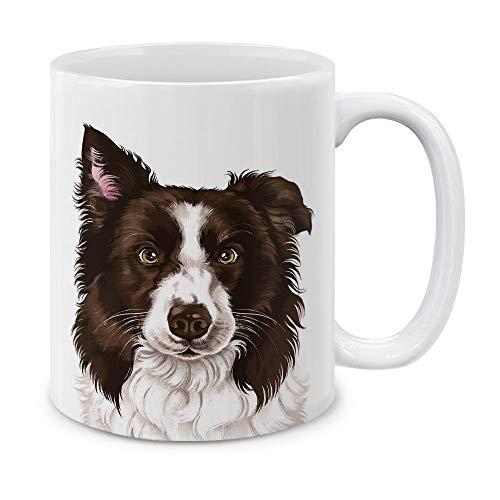 MUGBREW Cute Chocolate White Border Collie Dog Full Portrait Ceramic Coffee Gift Mug Tea Cup, 11 OZ