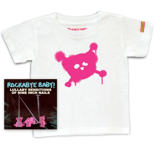 Rockabye Baby! Lullaby Renditions of Nine Inch Nails + Rockabye Baby 100% Organic Cotton Toddler T-Shirt (White/Pink)