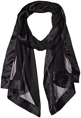 Price comparison product image Echo Design Women's Silk Chiffon Evening Wrap with Satin Border, Black, One Size
