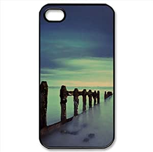 Evening Blue Sea Watercolor style Cover iPhone 4 and 4S Case (Beach Watercolor style Cover iPhone 4 and 4S Case)