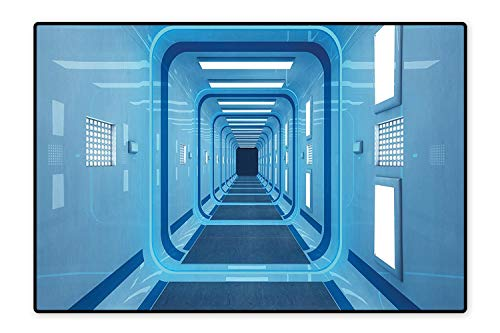 - Area Rug for Kid Square Shaped Trippy Gate in Space Shuttle Exit and Enter Destination Light Blue Easy Clean Stain Fade Resistant 5'x7'
