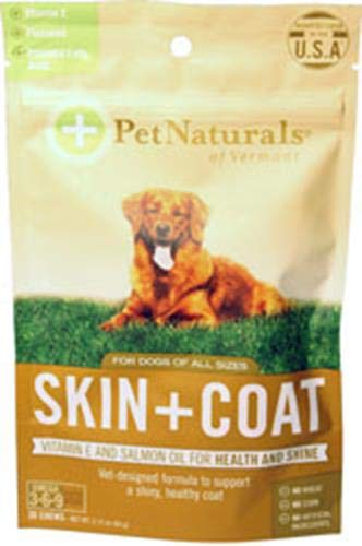 Pet Naturals of Vermont - Skin + Coat for Dogs, Dry, Itchy & Irritated Skin Support, 30 Bite-Sized Chews with Natural -