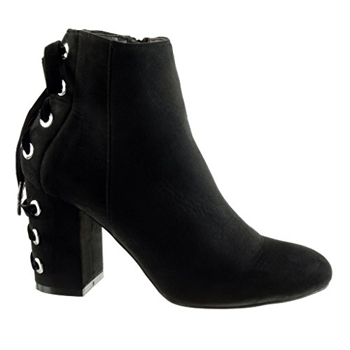 Angkorly Damen Schuhe Stiefeletten - Reitstiefel - Kavalier - Spitze Blockabsatz High Heel 8.5 cm Schwarz