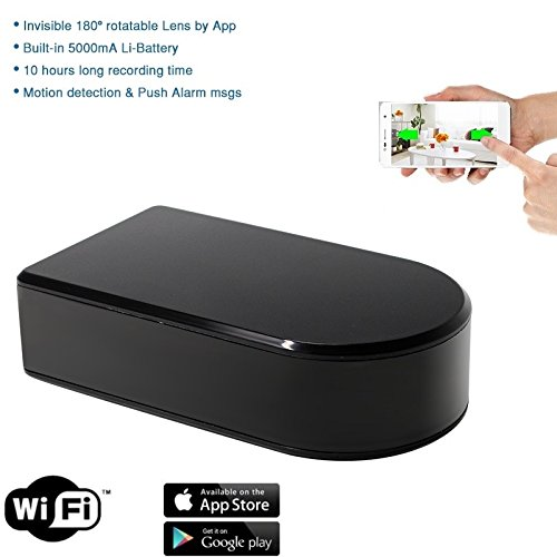 Wireless Hidden Spy Camera | 1080P HD Portable WiFi Security Cam with 180 Degree Rotating Lens, Live Remote Viewing, AC/Battery Powered, Motion Detection and Loop Recording. Black Box Hidden Camera by Sebah (Image #1)