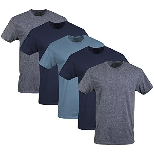 Gildan Men's Crew T-Shirts, Multipack, Navy/Heather